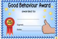 Good Behaviour Award Certificate Template Download Printable throughout Unique Good Behaviour Certificate Editable Templates