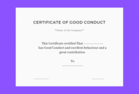 Good Conduct Certificate Template (3) – Templates Example pertaining to Good Behaviour Certificate Editable Templates