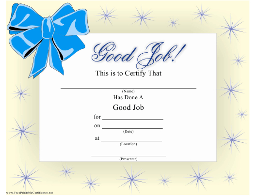 Good Job Certificate Template Download Printable Pdf For Fresh Good Job Certificate Template