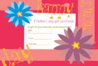 Greek Anemone Mother'S Day Gift Certificate Template regarding Mothers Day Gift Certificate Templates