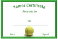 Green Tennis Certificate With A Picture Of A Tennis Ball in Table Tennis Certificate Templates Editable