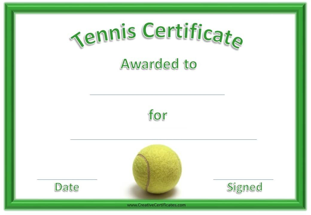 Green Tennis Certificate With A Picture Of A Tennis Ball Within Fresh Tennis Tournament Certificate Templates