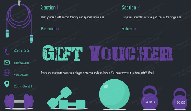 Gym-Exercise-Gift-Certificate-Template (Gift Certificate for Fitness Gift Certificate Template