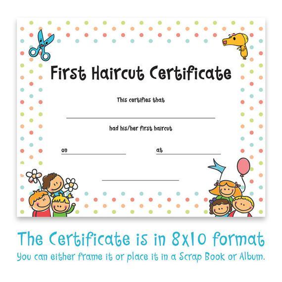 Haircut Certificate, First Haircut Certificate, Christmas Gift, Photo  Certificate, Baby First Haircut, Kids Gift, Printable Art, 8X10 Format Pertaining To First Haircut Certificate Printable Free 9 Designs