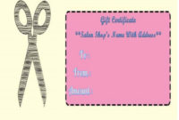 Haircut Gift Certificate Templates | Gift Certificate throughout Hair Salon Gift Certificate Templates