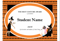 Halloween Best Costume Award throughout Best Costume Certificate Printable Free 9 Awards