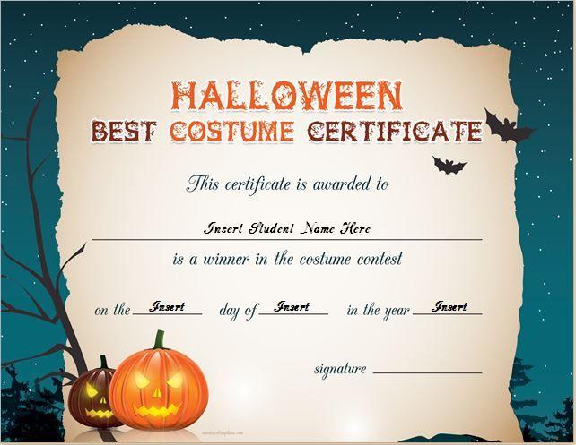 Halloween Best Costume Certificate Templates | Word & Excel For Best Costume Certificate Printable Free 9 Awards