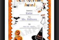 Halloween, Best Costume, Kids Certificate, Halloween Costume, Pdf Download,  Print Your Own, Instant Download, Printable within Unique Halloween Costume Certificate