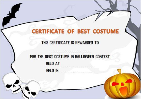 Halloween Costume Award Certificate Template | Certificate Regarding Halloween Costume Certificate