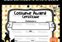 Halloween Costume Award Certificates within Unique Halloween Costume Certificate