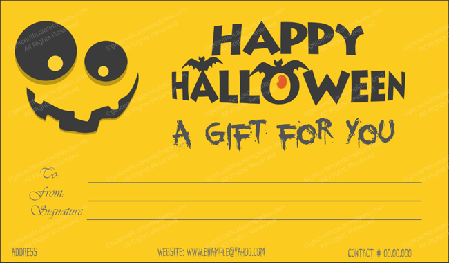 Halloween Gift Certificate Templates - Editable Designs (In Inside Best Halloween Gift Certificate Template Free