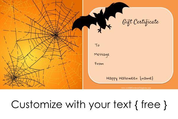 Halloween Gift Certificates | Halloween Gifts, Gift Card inside Halloween Gift Certificate Template Free