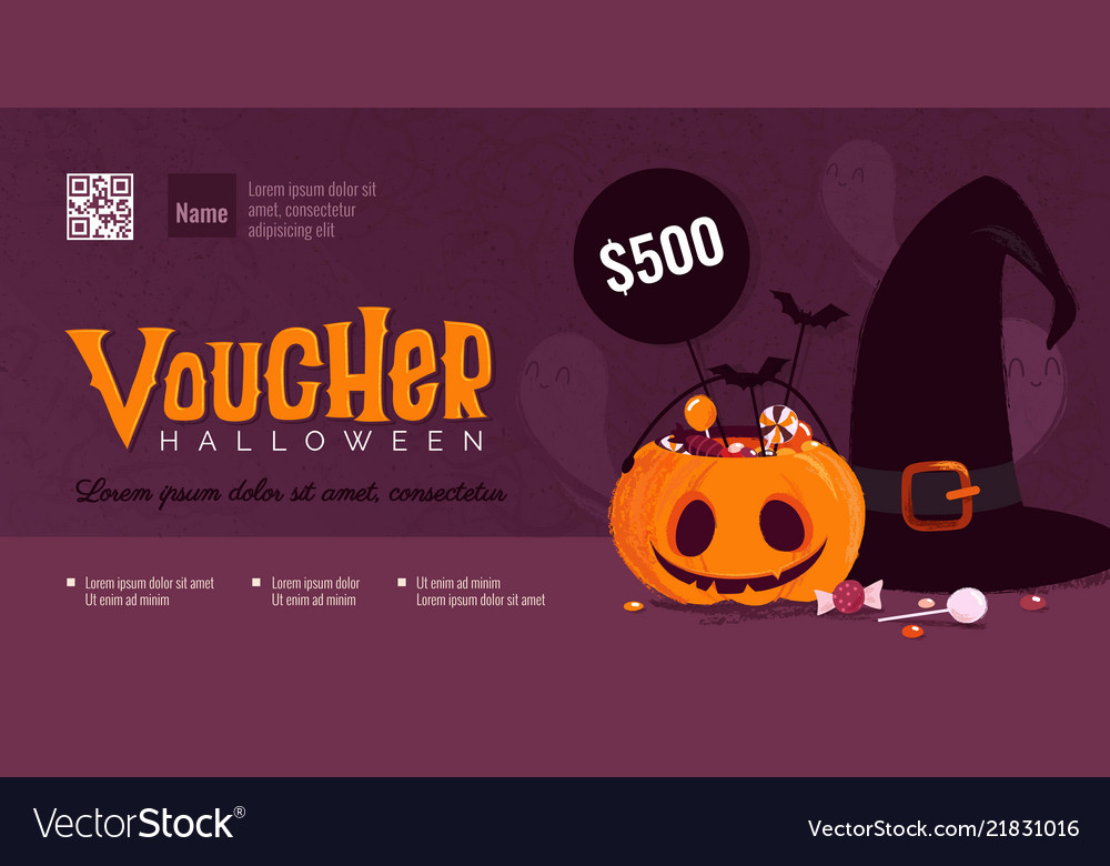Halloween Gift Voucher Template With Pumpkin And Vector Image Pertaining To Halloween Gift Certificate Template Free