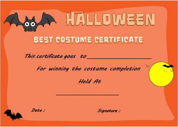 Halloween Innovative Costume Award Certificate Template throughout Unique Halloween Costume Certificate