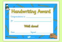 Handwriting Award Certificate with Handwriting Award Certificate Printable