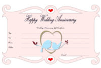 Happy Anniversary Gift Certificate Template Free (Full Of within Best Anniversary Gift Certificate