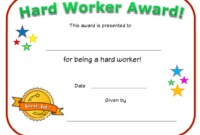 Hard Worker Award Certificate Template Download Printable for Unique Great Work Certificate Template