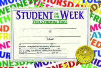 Hayes Student Of The Week Certificate, 11 X 8-1/2 Inches, Paper, Pack Of 30 intended for Student Of The Week Certificate