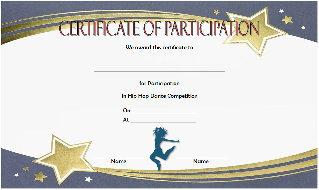 Hip Hop Certificate Template Free For Participation In Dance Inside Fresh Hip Hop Dance Certificate Templates