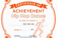 Hip Hop Dance Certificate Format In Blaze Orange, Your Pink for Fresh Hip Hop Certificate Templates