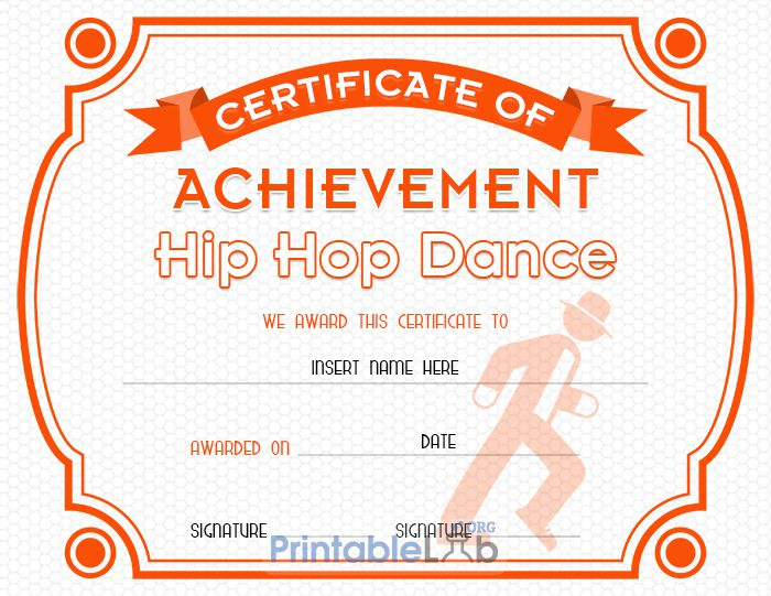 Hip Hop Dance Certificate Format In Blaze Orange, Your Pink Intended For Fresh Hip Hop Dance Certificate Templates