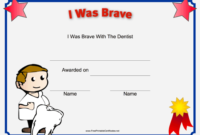 I Was Brave At The Dentist Printable Certificate | Kids inside Fresh Bravery Certificate Template 10 Funny Ideas