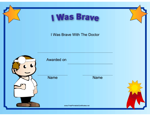I Was Brave At The Doctor Printable Certificate Regarding Unique Bravery Award Certificate Templates