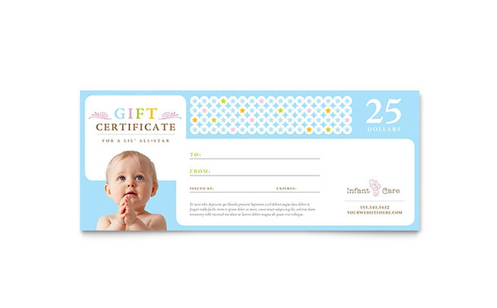 Infant Care & Babysitting Gift Certificate Template Design Regarding 7 Babysitting Gift Certificate Template Ideas