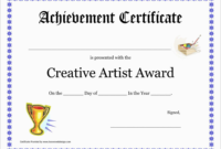 Inspirational Award Certificate Template Free Best Of pertaining to Art Award Certificate Free Download 10 Concepts