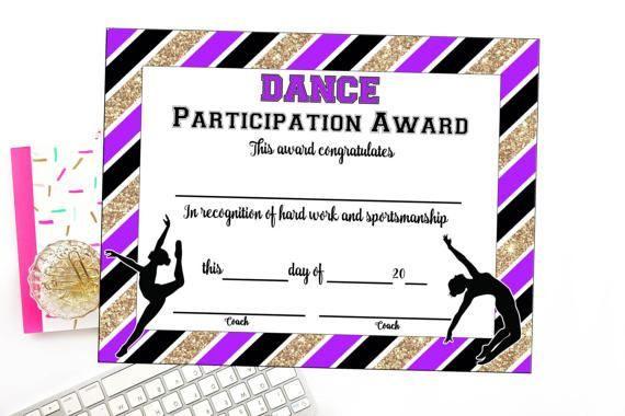 Instant Download Dance Team Certificate Dance Award | Etsy Regarding Dance Award Certificate Template