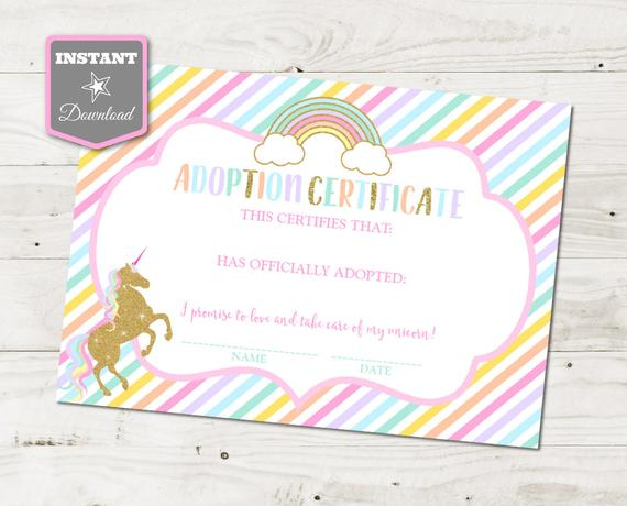 Instant Download Unicorn Printable 5X7 Adoption Certificates / Glitter  Pastel Unicorns & Rainbows Collection / Item #3525 In Unicorn Adoption Certificate Templates