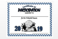 Item#055-2020 Volleyball Certificate – Digital Download intended for Best Volleyball Participation Certificate