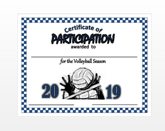 Item#055 2020 Volleyball Certificate - Digital Download Intended For Best Volleyball Participation Certificate