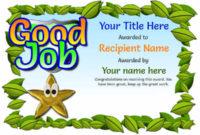 Junior School Certificates – Free Certificate Templates regarding Fresh Good Job Certificate Template