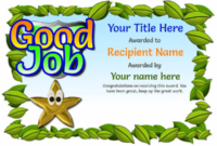 Junior School Certificates – Free Certificate Templates With with regard to Good Job Certificate Template Free