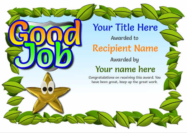Junior School Certificates - Free Certificate Templates With With Regard To Good Job Certificate Template Free