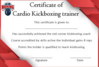Kickboxing Certificate Templates For Instructors & Students with Unique Boxing Certificate Template