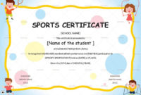 Kids Sports Participation Certificate Template | Certificate within Sports Day Certificate Templates
