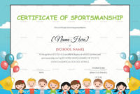 Kids Sportsmanship Certificate Template Within Children'S pertaining to Fresh Sportsmanship Certificate Template