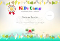 Kids Summer Camp Diploma Or Certificate Template – Stock with regard to Certificate For Summer Camp Free Templates 2020