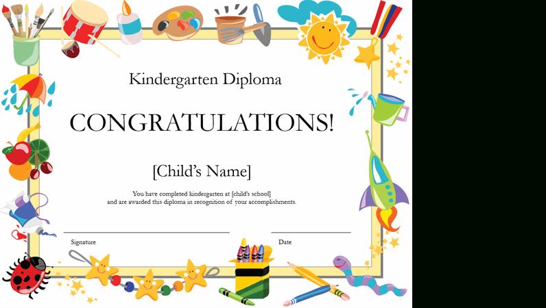 Kindergarten Diploma Certificate in Kindergarten Diploma Certificate Templates 10 Designs Free