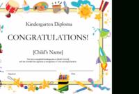 Kindergarten Diploma Certificate regarding Pre K Diploma Certificate Editable Templates