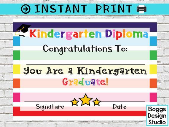Kindergarten Diploma, Kindergarten Certificate, Printable School Award,  Graduation Diploma, Blank School Diploma, Instant Download Regarding Best Kindergarten Graduation Certificate Printable