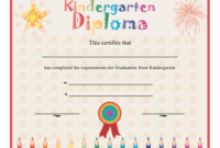 Kindergarten Diploma Printable Certificate with Kindergarten Graduation Certificate Printable