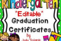 Kindergarten Graduation Certificates (Editable) throughout Best Kindergarten Graduation Certificate Printable