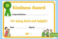 Kindness Award Certificate (Teacher Made) inside Fresh Certificate Of Kindness Template Editable Free