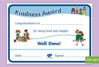 Kindness Award Certificate (Teacher Made) throughout Certificate Of Kindness Template Editable Free