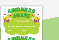 Kindness Award Certificate within Certificate Of Kindness Template Editable Free