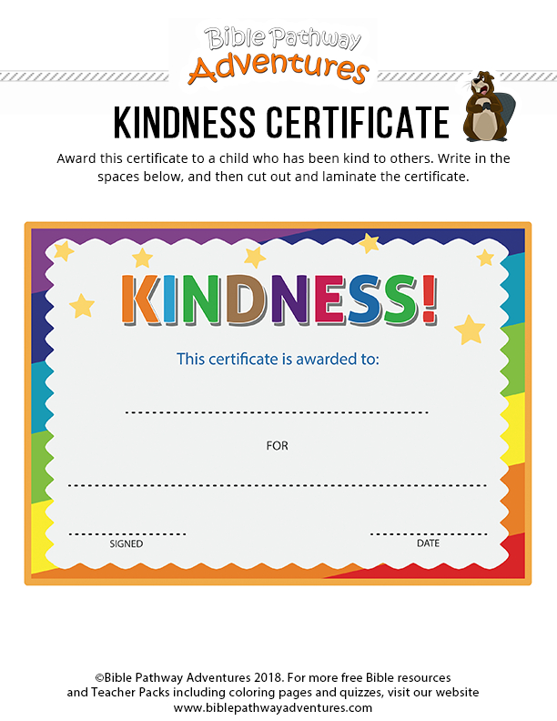 Kindness Certificate | Bible Lessons For Kids, Lessons For Pertaining To Unique Kindness Certificate Template Free
