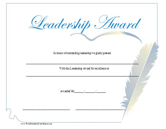 Leadership Award Certificate Printable Certificate Intended For Fresh Leadership Award Certificate Template